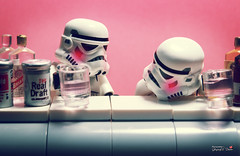 Drunken trooper (storm TK431) Tags: beer starwars lego stormtrooper imperial drunken deathstar lifeonthedeathstar