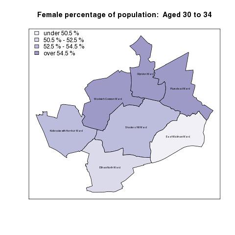 Female percentage of population:  Aged 30 to 34