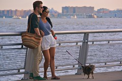 dog newyork sunglasses river newjersey couple manhattan upperwestside hudsonriver leash railing singforhope popuppianos