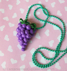 Bunch of Grapes Necklace (Cantankerous Cupcake) Tags: fruit necklace handmade jewelry polymerclay grapes