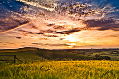 Sunset (paulwynn-mackenzie.co.uk) Tags: camera blue sunset sky sun fence landscape photography warm exposure colours cloudy wheat dramatic vivid dorset fields shaftesbury zigzaghill