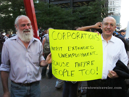 NYC Occupy Wall Street Rally Oct 8 2011 corporations sign