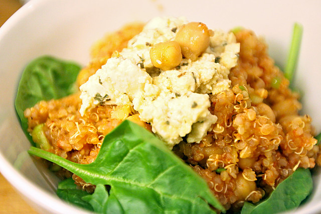 Smoky chickpea, feta and quinoa salad