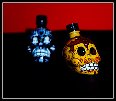 286/365 (10.13.2011): Tequila Kah Part II - The mini bottles (jbone66) Tags: canon skeleton skull tequila photoaday 365 kah project365 mostly365 oct2011