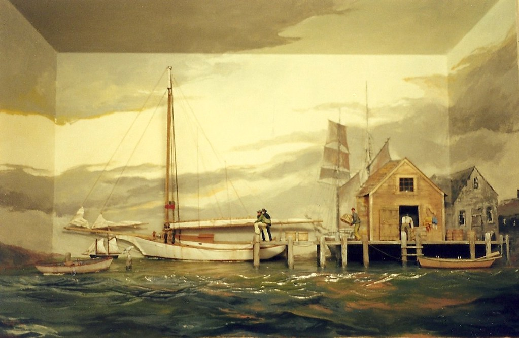 A Day At The Dock, Maine Coast  c.1910  -Wood Shadowbox