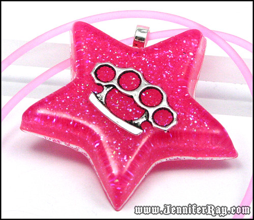 Girly Knuckles Necklace - Neon Pink Glitter Brass Knuckles Resin Star Pendant by JenniferRay.com