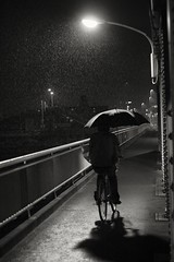 brolly, bridge, and bicycle (StephenCairns) Tags: nightphotography bridge light blackandwhite bw bike bicycle japan night umbrella fence concrete iron rivets shadows cycle commute  steelbridge railing  gifu brolly rebar 50mmf14       converginglines  canon50d  50dcanon  chusetsubashi  iloveshootingintherain justasiwasstartingtopackitinforthenightitstartedtorainyesilovethatlookatthatrainunderthelightthatmakesmehappy