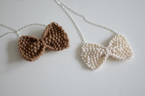 Handknit Bowtie Necklaces