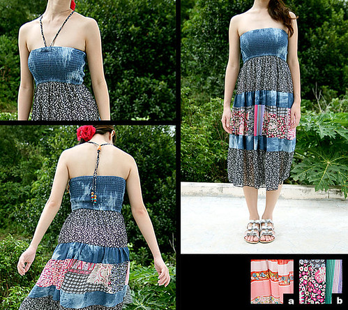 20_Sweet Floral Chiffon & Cotton Denim Maxi Dress