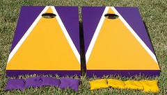 Yellow Gold & Purple Matching Triangle Cornhole Boards