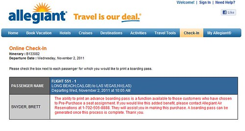 Check In Error Allegiant