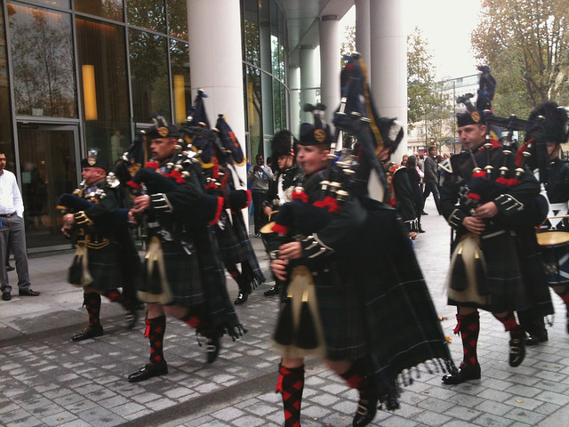 Pipe & Drum band at Regent's Place