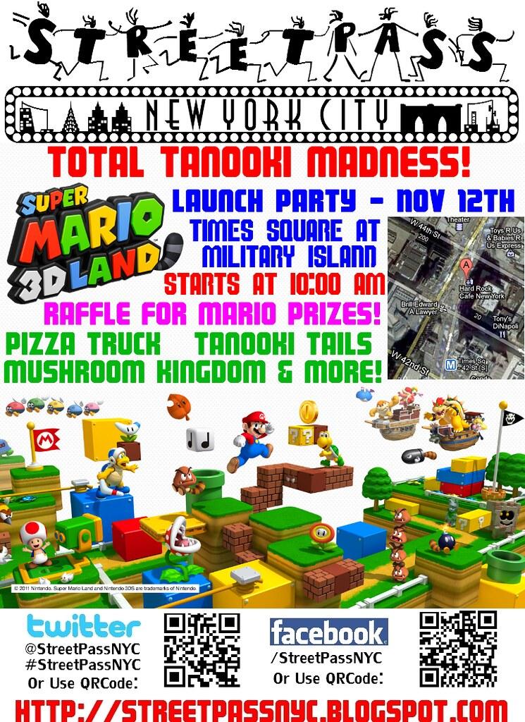 Super Mario 3D Land Flier -- StreetPass NYC