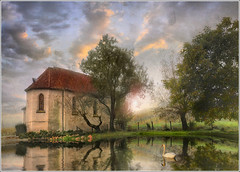 the pond (Jean-Michel Priaux) Tags: light sun france tree texture nature fairytale photoshop painting landscape swan pond nikon paradise mare niceshot lumire dream surreal chapel poetic reflect alsace paysage glise dreamland chapelle posie d90 priaux itterswiller reichsfeld mygearandme ringexcellence