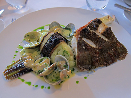 Grilled Plaice, Clams, Champ, Butter Sauce