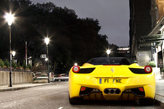 Ferrari North Europe. (Alex Penfold) Tags: auto street camera roof two black london cars alex sports car sport yellow mobile night canon dark photography eos photo cool flickr italia shot nightshot image awesome flash picture super f1 ferrari spot knightsbridge exotic photograph spotted hyper lamps sheraton press coloured tone supercar diffuser spotting exotica sportscar sportscars supercars penfold spotter 458 2011 hypercar 60d fne hypercars alexpenfold f1fne