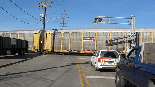 Train delay at the Dodge Avenue railroad crossing.  Franklin Park Illinois USA. Saturday, November 5th, 2011. by Eddie from Chicago