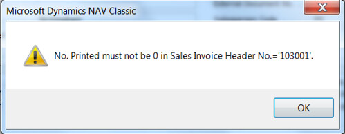 Missing Sales Invoice - Error No. Printed must not be 0 in Sales Invoice Header