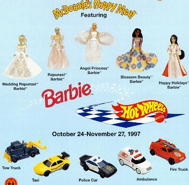 Barbie vs Hot Wheels Happy Meal Toys