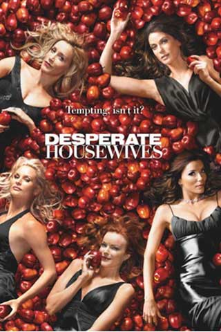 promo poster for Desperate Housewives showing the cast laying down on a pile of apples