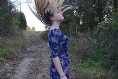 (kittykat) Tags: blue trees floral girl grass creek forest hair woods dress madison blonde gravel nikond3100