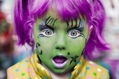 Girl with Face Paint. (zest of the loganberry) Tags: portrait london halloween girl project hair children photography 50mm october child market bokeh witch 14 greenwich pumpkins makeup portraiture facepaint 50 journalism primelens portriaits canon5dmkii zestoftheloganberry hannahcoates