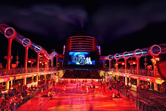 Deck 12 Party (janoimagine) Tags: ocean longexposure nightphotography party canon dance orlando florida wed disney smokestack cruiseship caribbean bahamas nassau canondslr canoneos waltdisney bigscreen upperdeck oceanliner wdi disneycruiseline imagineer clublighting aquaduck canon50d deck12 disneydream