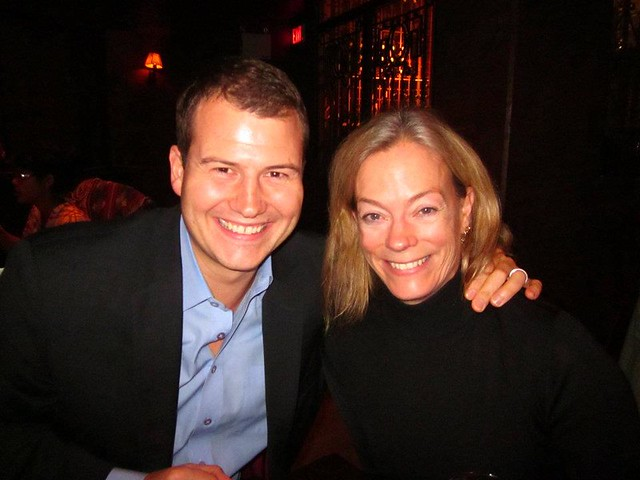 CEO Colleen Nystedt with Justen Harcourt at Steamworks Brewpub after PlaceSpeak's November Board Meeting and AGM