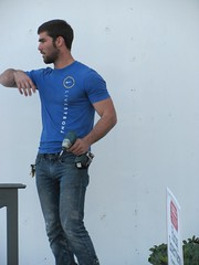 Around Town (CAHairyBear) Tags: man men guy hunk uomo jeans denim worker mann hombre manner homme hom