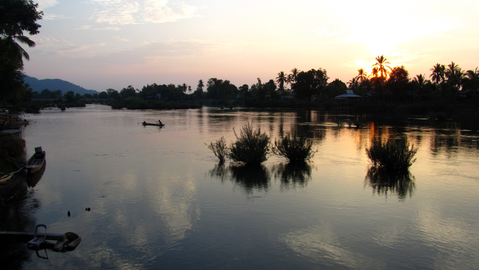 Peaceful Sunset at the 4000 Islands of Laos