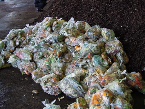 久喜宮代衛生組合 生ゴミ減容化及びHDM堆肥化処理施設 投入される状態の生ゴミ。普通ですね。