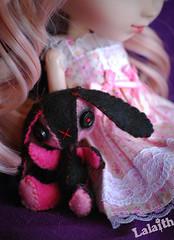 Happy birthday Never!!!  (_Lalaith_) Tags: pink never cute rabbit doll dress curls tights polka m plush bow kawaii plushie pullip dott coolcat sbh lalaith obitsu papin 25cm rewigged