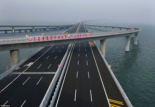 That is a £1bn bridge too far World's longest sea bridge opens to traffic in China... but it will only hold the title for five years  12