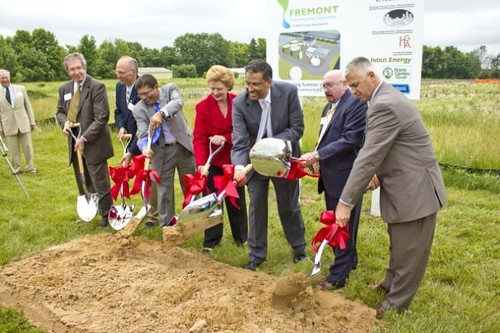 Groundbreaking at the Fremont, Michigan, Community Digester.  From left:  City of Fremont Mayor James Rynberg, Rob Zeldenrust of North Central Co-Op, Arvin Shah of INDUS Energy, U.S. Sen. Debbie Stabenow,  NOVI Energy President Anand Gangadharan, USDA Rural Development State Director for Michigan James J. Turner, and state Rep. Jon Bumstead.