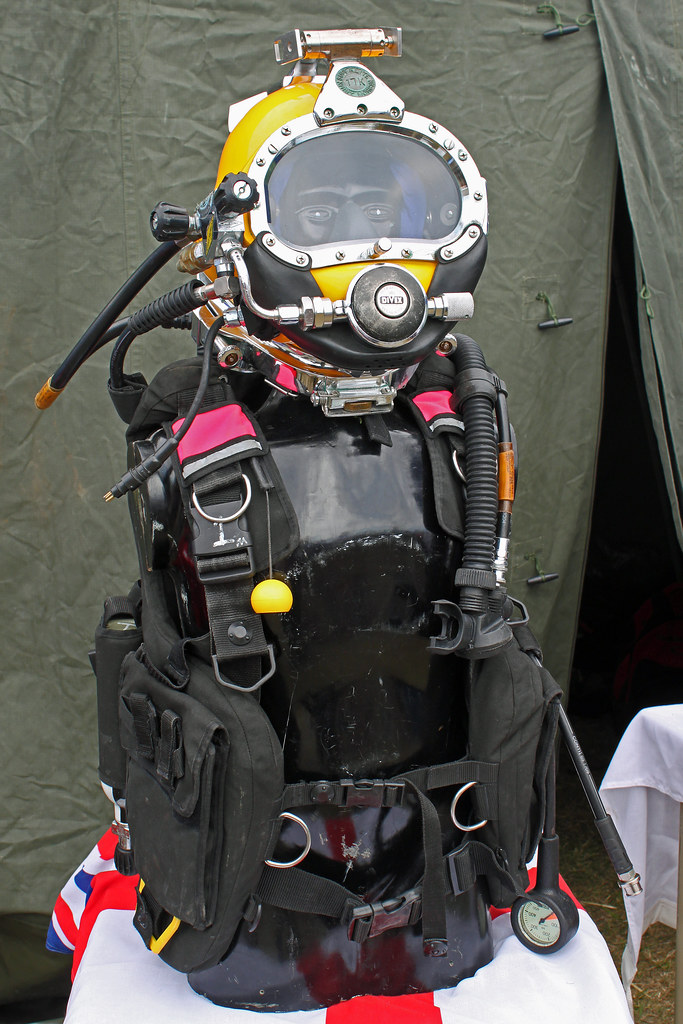 Royal Navy diving equipment. 999 Emergency Services Display Eastbourne 2011