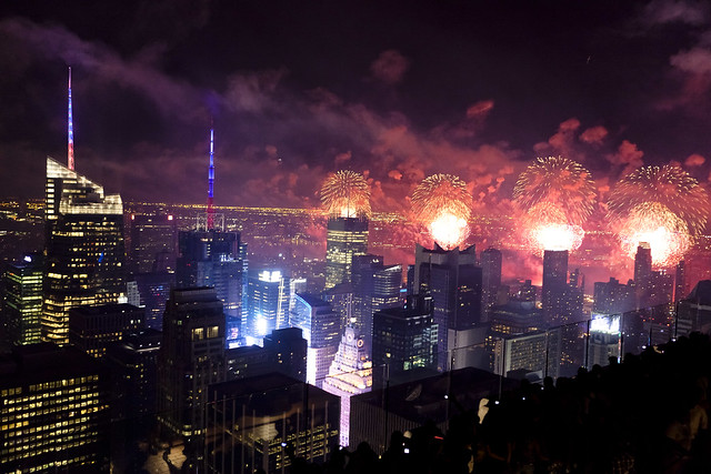Fireworks in NYC. Red, white...ok, mostly red...