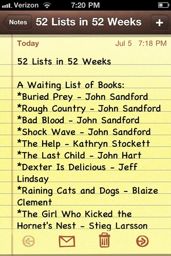 52 Lists in 52 Weeks || Week 5 (part 1)