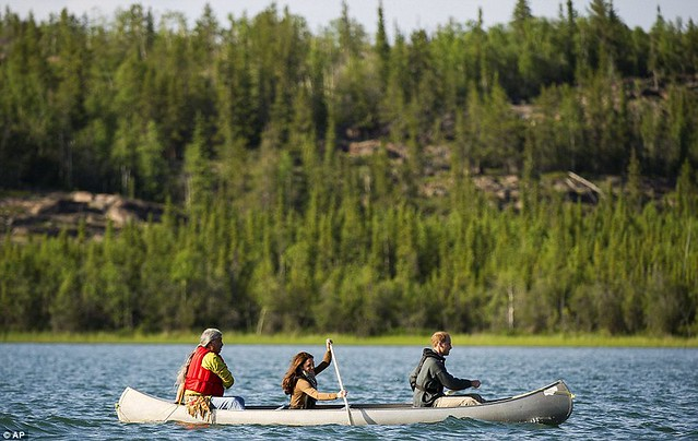 Two Royals in a boat Canoe-dling Kate and William wow Canada's Northwest Territories with their paddling partnership in a kayak  3