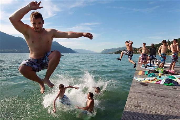 baignade dans le lac du Bourget lors des fortes chaleurs de juin 2003 météopassion