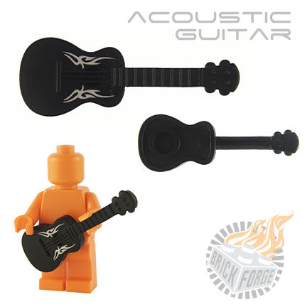 Acoustic Guitar - Black (silver Tribal print)