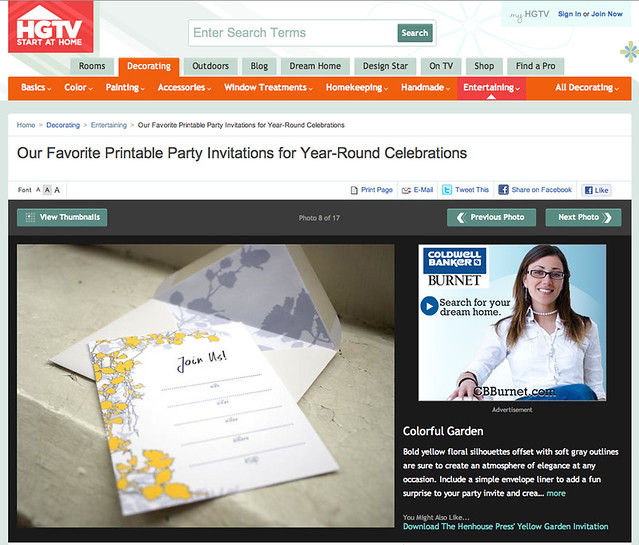 Our stationery featured on HGTV.com