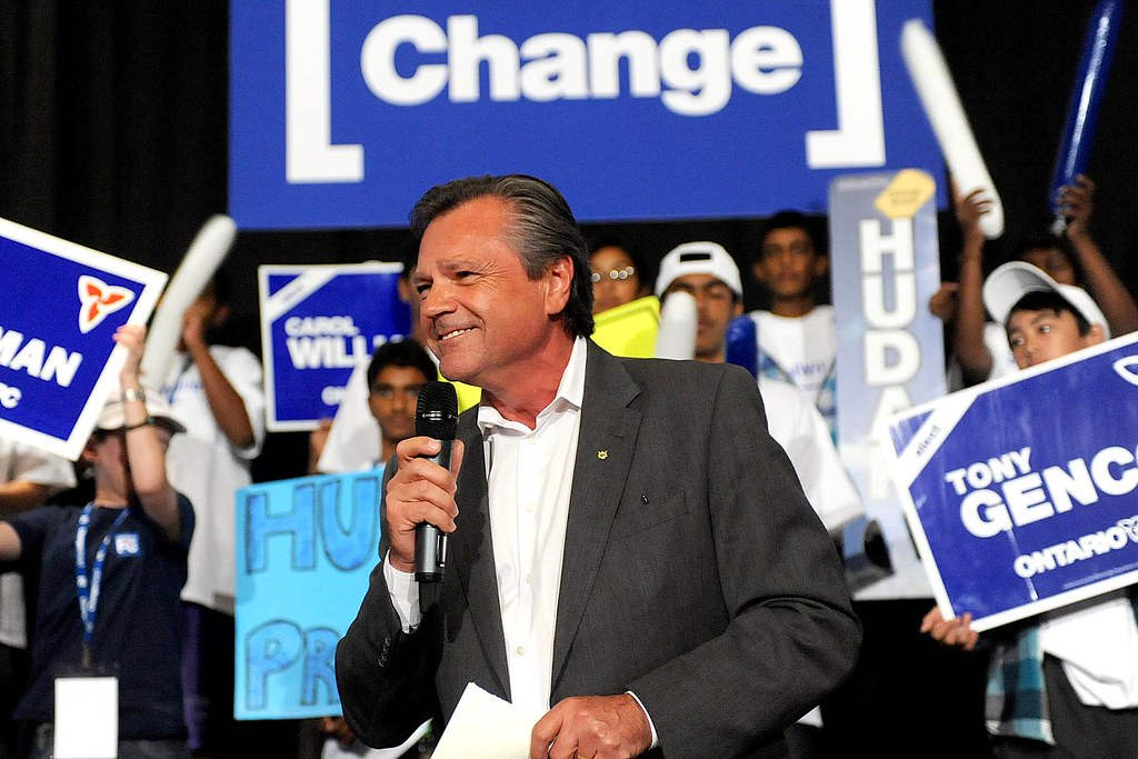 Ontario PC Candidate for Newmarket-Aurora Frank Klees speaks to supporters at a rally in Vaughan, ON.