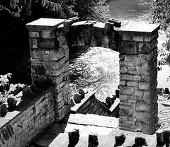 Mill Ruins on the River (scilit) Tags: blackandwhite mill abandoned monochrome stairs river landscape ancient ruins scenery rocks shadows path stones limestone historical fergus grandriver decayed waterscape woolenmill qualitystructuresppf