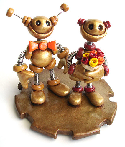 Robot Wedding Cake Topper Rustic Gold Finish by HerArtSheLoves