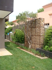 Gabion wall for privacy (Badec Bros Deco) Tags: stone architecture kingfisher bros stonewalls gabion edrich gabionwalls badec kingfisherlandscaping badecbros edrichbadenhorst gabionfeaturewalls