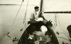 A close shave (*Kicki*) Tags: old 1920s bw man sepia vintage boat commons oldschool cc creativecommons shave sailor scanning monocrome sailingboat