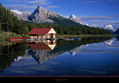 "My double Love Affair...Maligne Lake Boathouse-Jasper National Park (Joalhi ""Back in Miami"") Tags: blue lake canada reflection jasper unesco boathouse perfection malignelake supershot coth5"