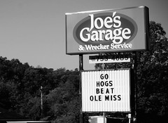 Joe's Garage (Just Joe ( Finally getting the hang of this)) Tags: blackandwhite littlerock garage arkansas dailyphoto joesgarage 365group startswithj wreckerservice odc2 ourdailychallenge