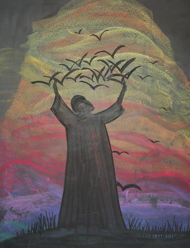 Saint Francis Chalk Drawing