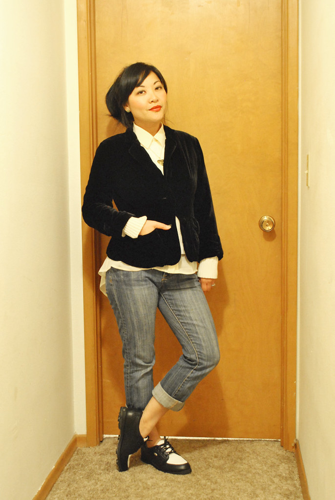 Fall Outfit - Velvet Jacket - Cable Knit Sweater - Assymetrical Sheer Top - Boyfriend Jeans - Saddle Shoes